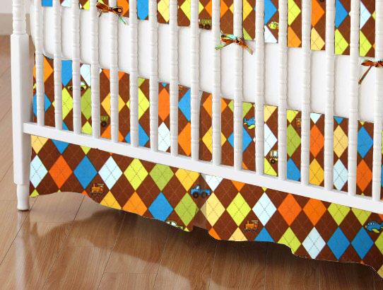 Crib Skirt - Argyle Brown Transport