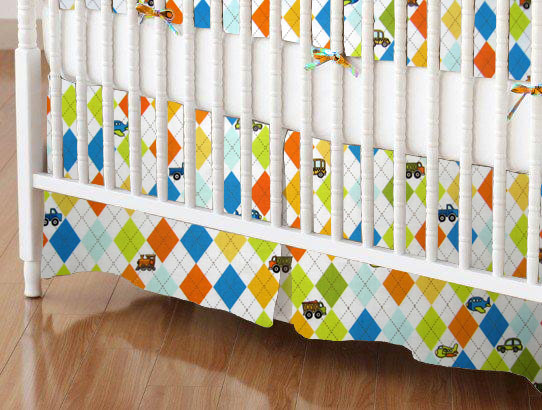 Crib Skirt - Argyle White Transport