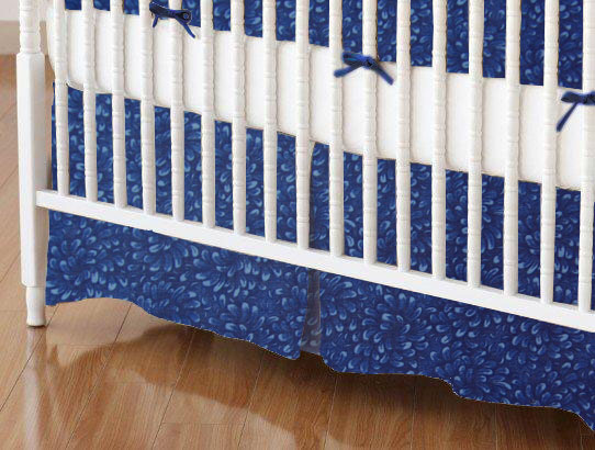 Crib Skirt - Navy Petals