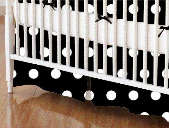 Crib Skirt - Polka Dots Black