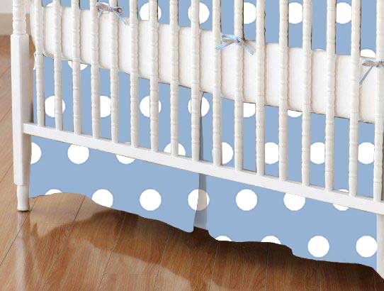 Crib Skirt - Polka Dots Blue