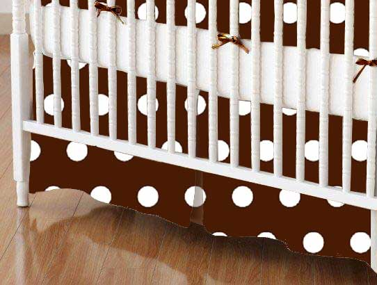 Crib Skirt - Polka Dots Brown