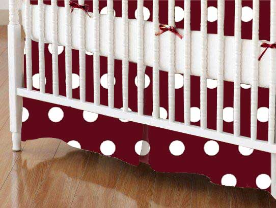 Crib Skirt - Polka Dots Burgundy