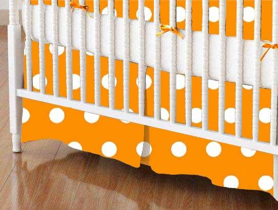 Crib Skirt - Polka Dots Gold