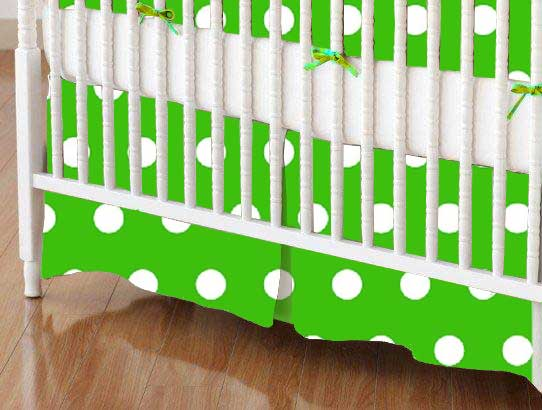 Crib Skirt - Polka Dots Green