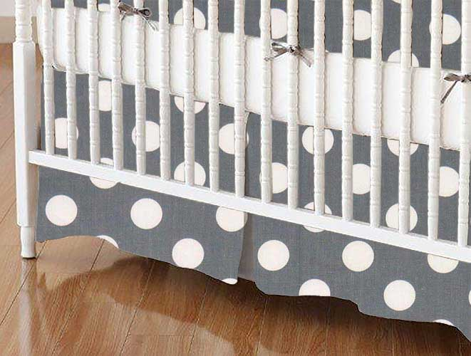 Crib Skirt - Polka Dots Grey
