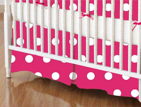 Crib Skirt - Polka Dots Hot Pink