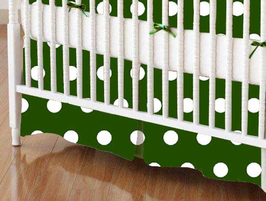 Crib Skirt - Polka Dots Hunter Green