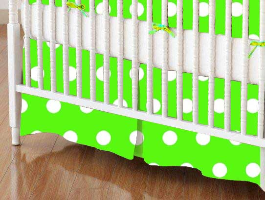 Crib Skirt - Polka Dots Lime