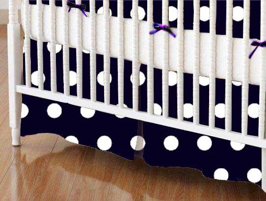 Crib Skirt - Polka Dots Navy