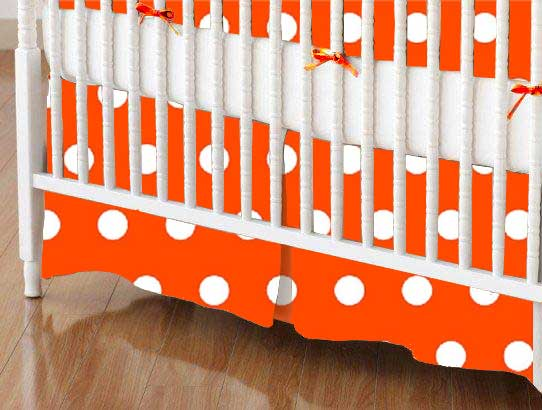 Crib Skirt - Polka Dots Orange