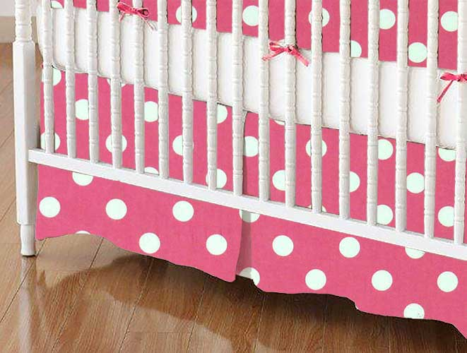 Crib Skirt - Polka Dots Pink