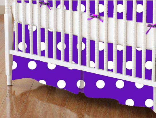 Crib Skirt - Polka Dots Purple