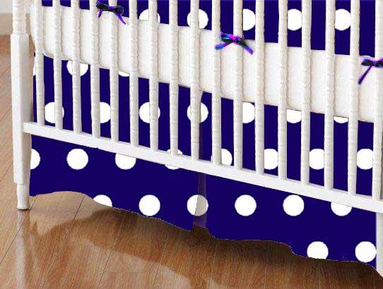 Crib Skirt - Polka Dots Royal