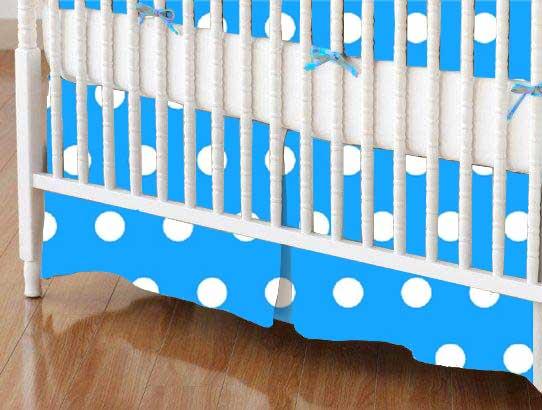 Crib Skirt - Polka Dots Turquoise