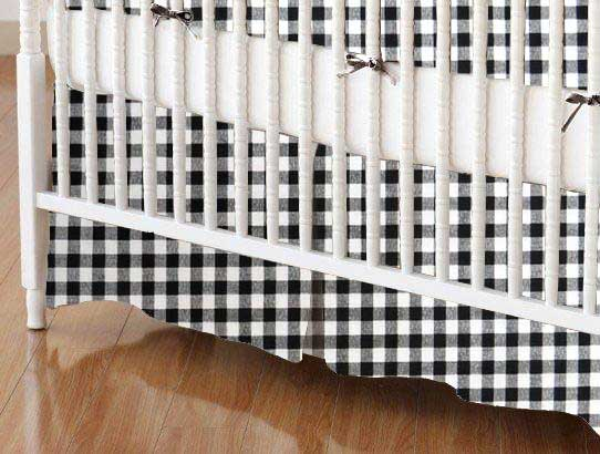 Crib Skirt - Black Gingham Check