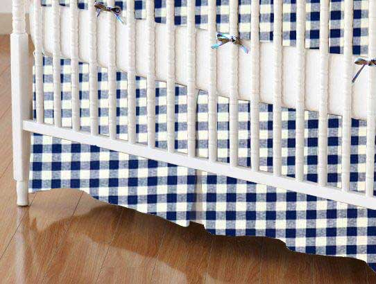 Crib Skirt - Royal Gingham Check