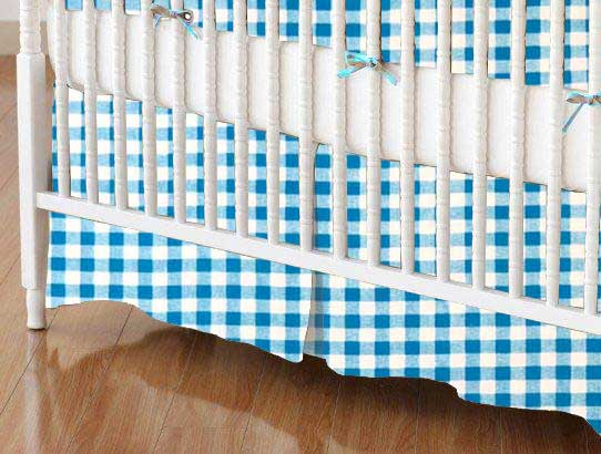 Crib Skirt - Turquoise Gingham Check