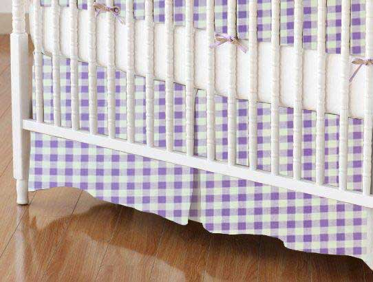 Crib Skirt - Lavender Gingham Check