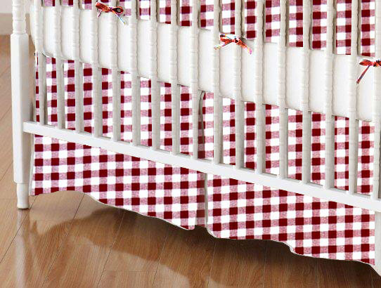 Crib Skirt - Burgundy Gingham Check