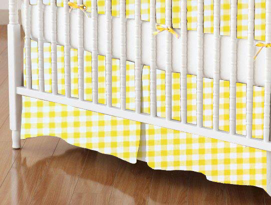 Crib Skirt - Yellow Gingham Check