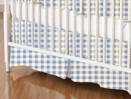 Crib Skirt - Blue Gingham Check