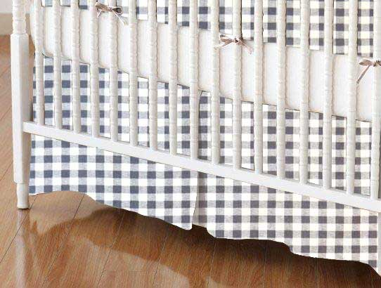Crib Skirt - Grey Gingham Check