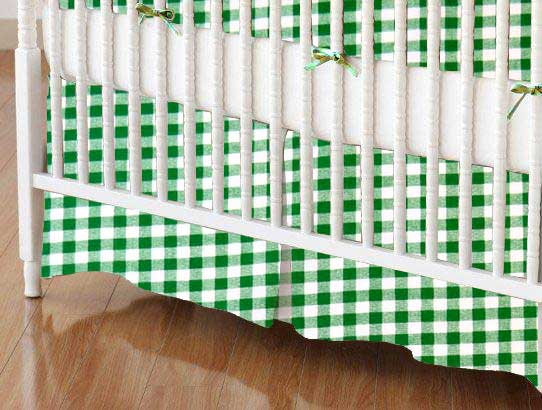 Crib Skirt - Green Gingham Check
