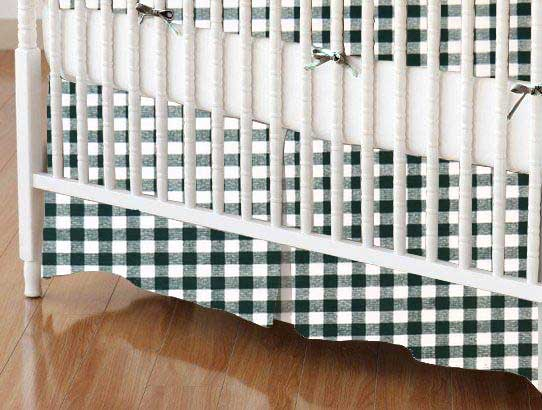 Crib Skirt - Hunter Green Gingham Check