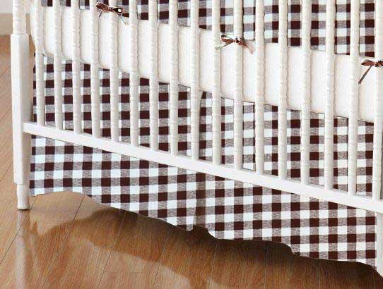 Crib Skirt - Brown Gingham Check