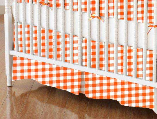 Crib Skirt - Orange Gingham Check