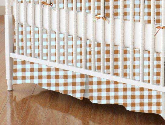 Crib Skirt - Beige Gingham Check