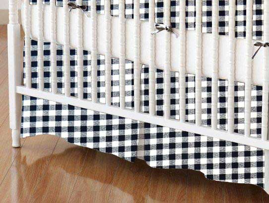 Crib Skirt - Navy Gingham Check