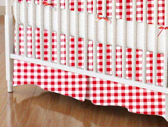 Crib Skirt - Red Gingham Check