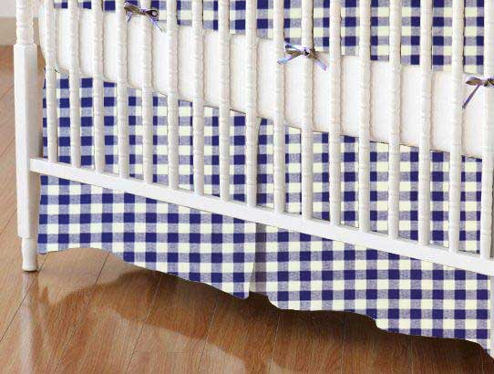 Crib Skirt - Purple Gingham Check