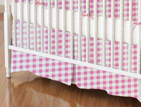 Crib Skirt - Pink Gingham Check