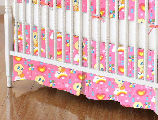 Crib Skirt - Tweety Love Pink