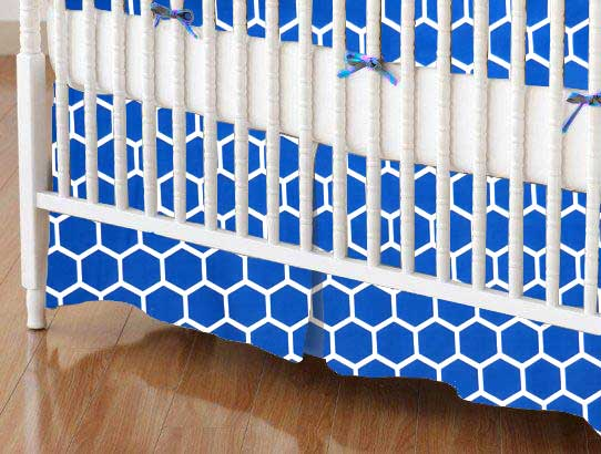 Crib Skirt - Royal Blue Honeycomb
