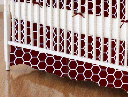 Crib Skirt - Burgundy Honeycomb
