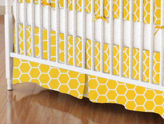 Crib Skirt - Lemon Honeycomb