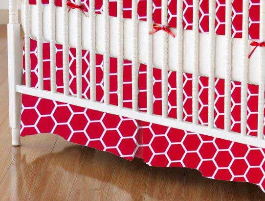 Crib Skirt - Red Honeycomb