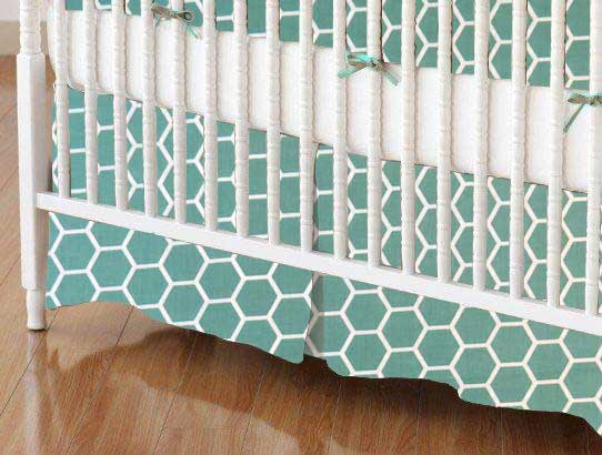 Crib Skirt - Seafoam Blue Honeycomb
