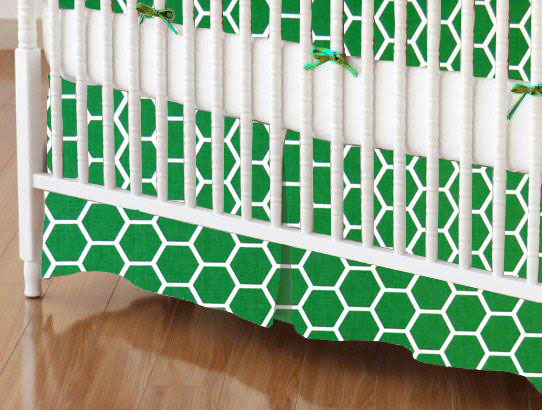 Crib Skirt - Green Honeycomb