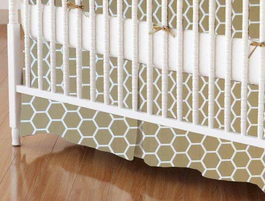 Crib Skirt - Khaki Honeycomb