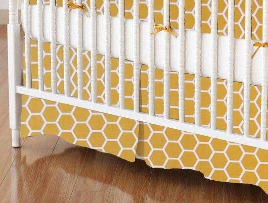 Crib Skirt - Mustard Yellow Honeycomb