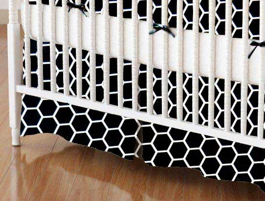 Crib Skirt - Black Honeycomb
