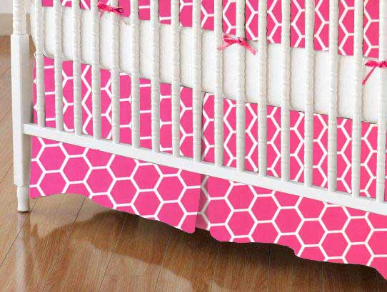 Crib Skirt - Hot Pink Honeycomb