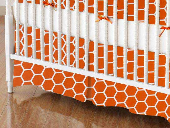 Crib Skirt - Burnt Orange Honeycomb