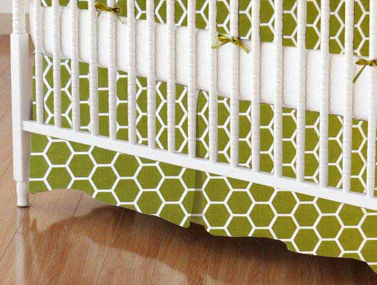 Crib Skirt - Sage Honeycomb