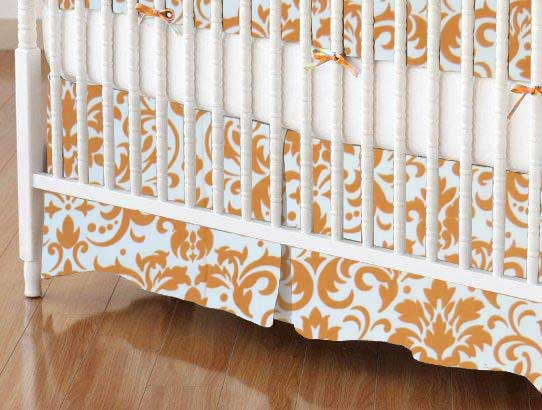 Crib Skirt - Gold Damask